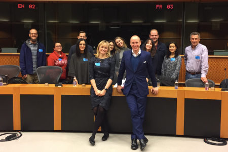 students standing at European Parliament