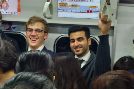 students on train
