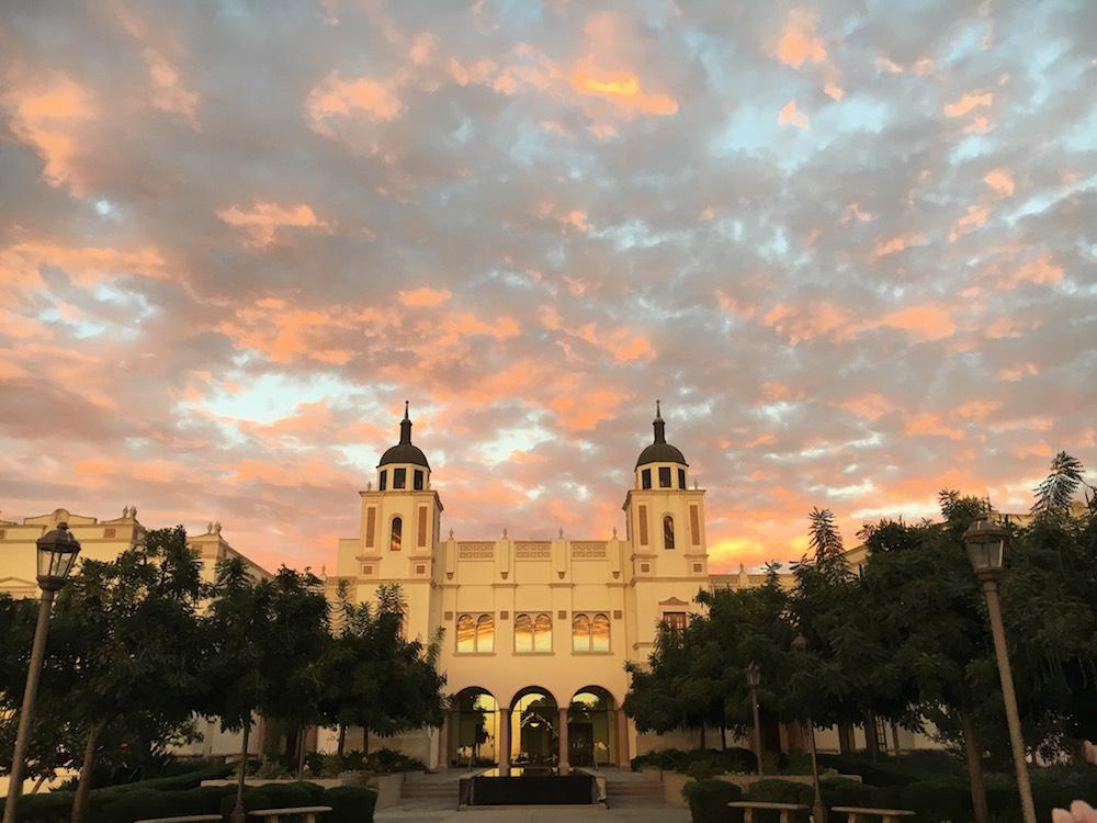 A sunset photo of the KIPJ building