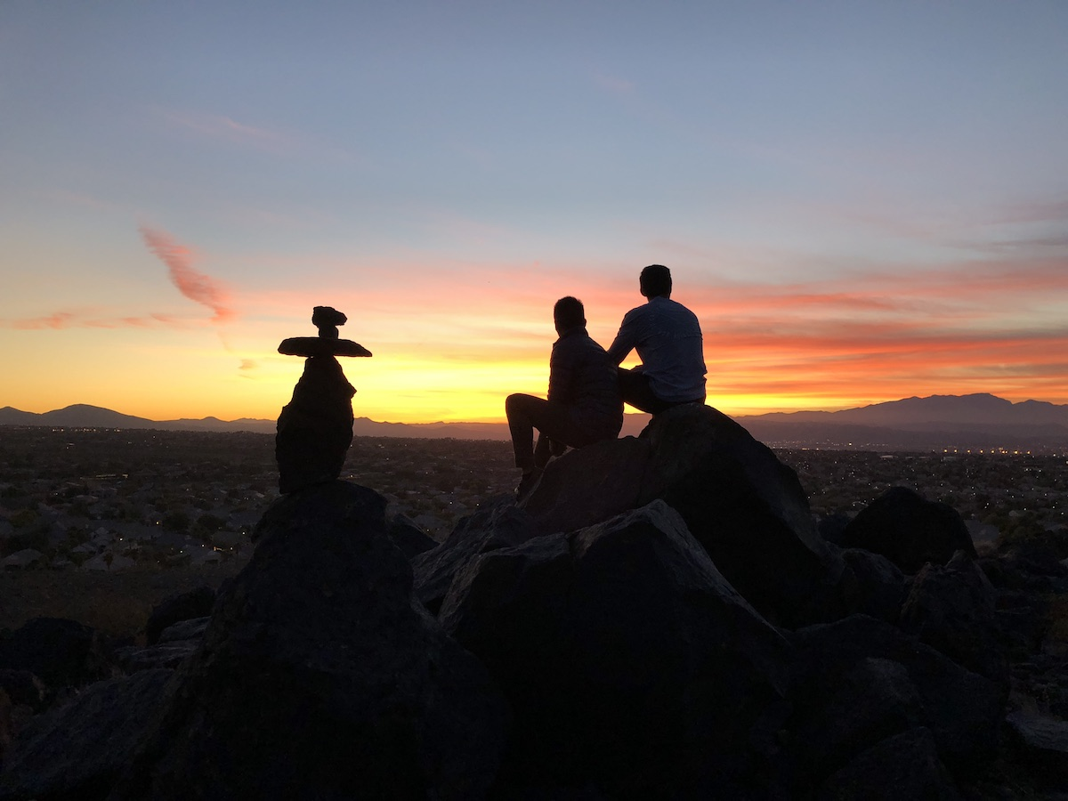 Photo from on top of a mountain at sunset.