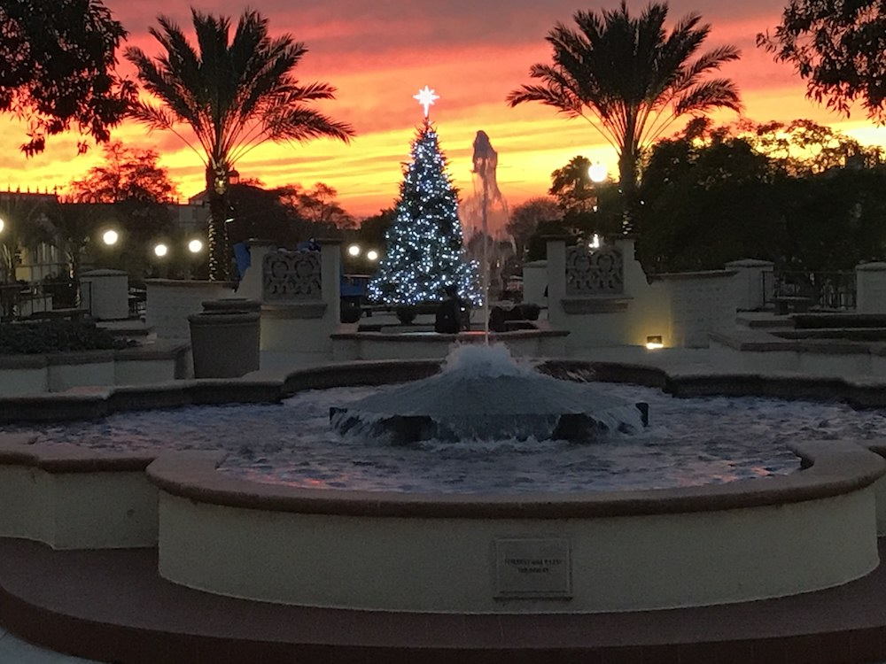 The Christmas tree lit up at Paseo de Colachis at sunset.