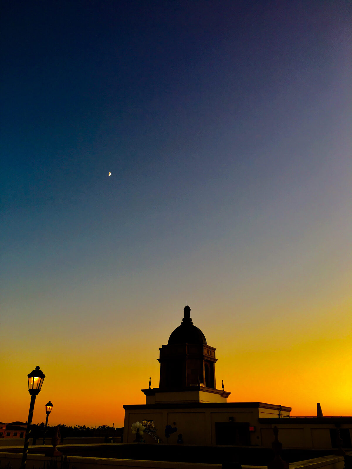 Immaculata silhouette in the evening sky
