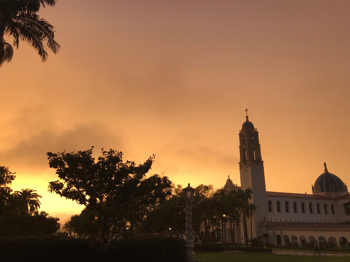 Immaculata rainy-day sunset