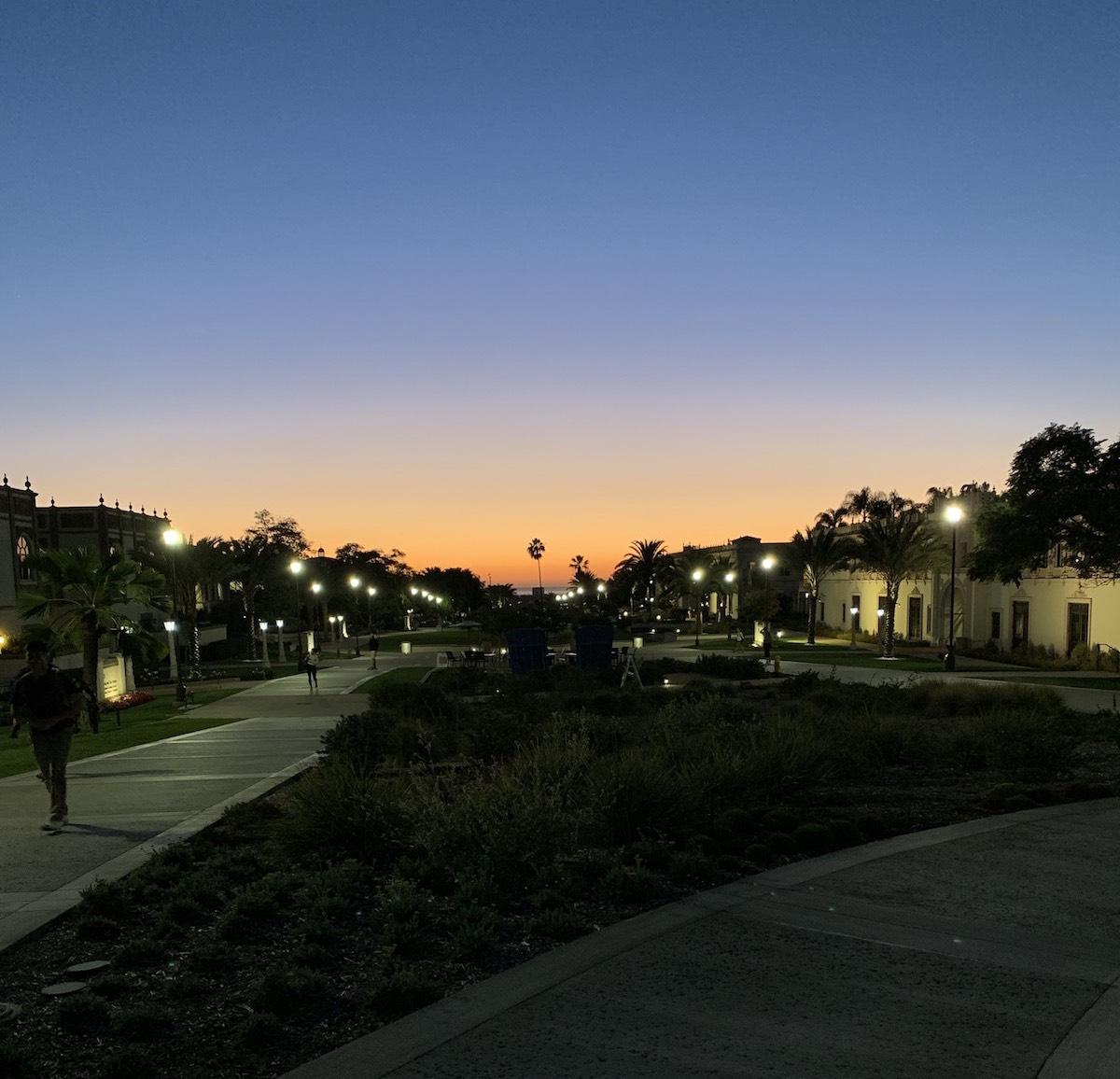 The Paseo de Colachis at dusk